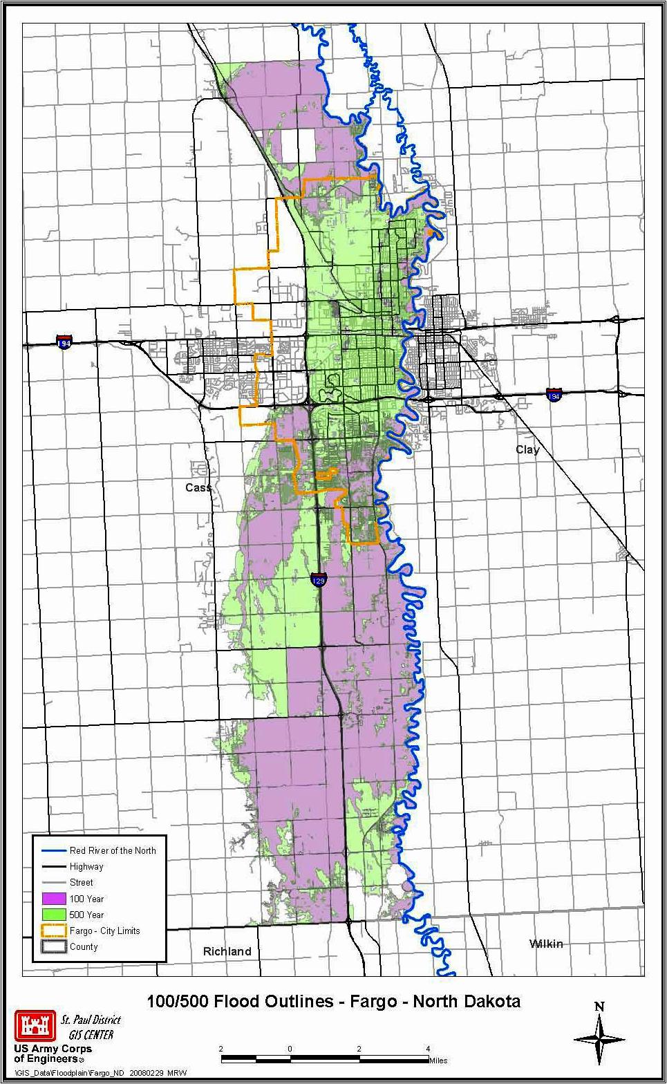 Original 100yr vs 500yr Flood Outline of Fargo, ND | FMDam.org on