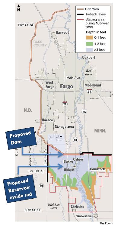 Fargo Moorhead Dam and FM Diversion Dam and Reservoir Location