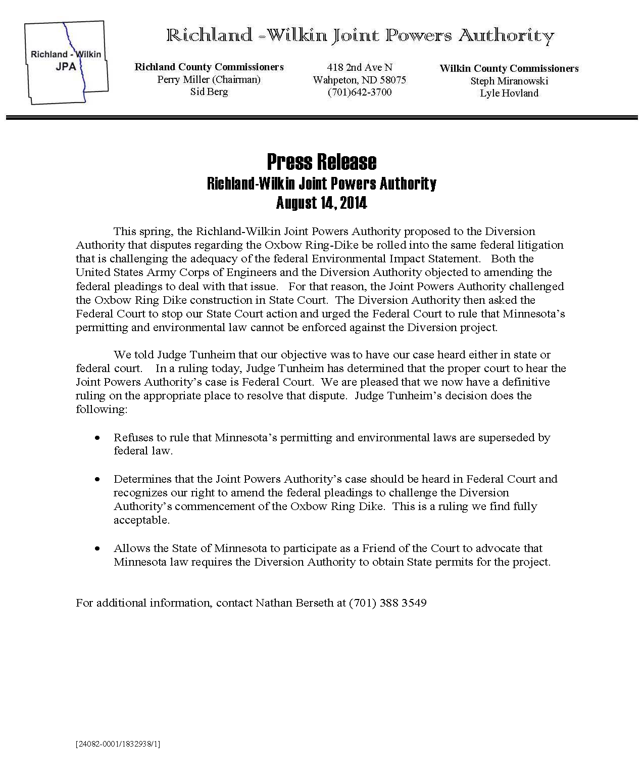 Press Release 8-14-2014