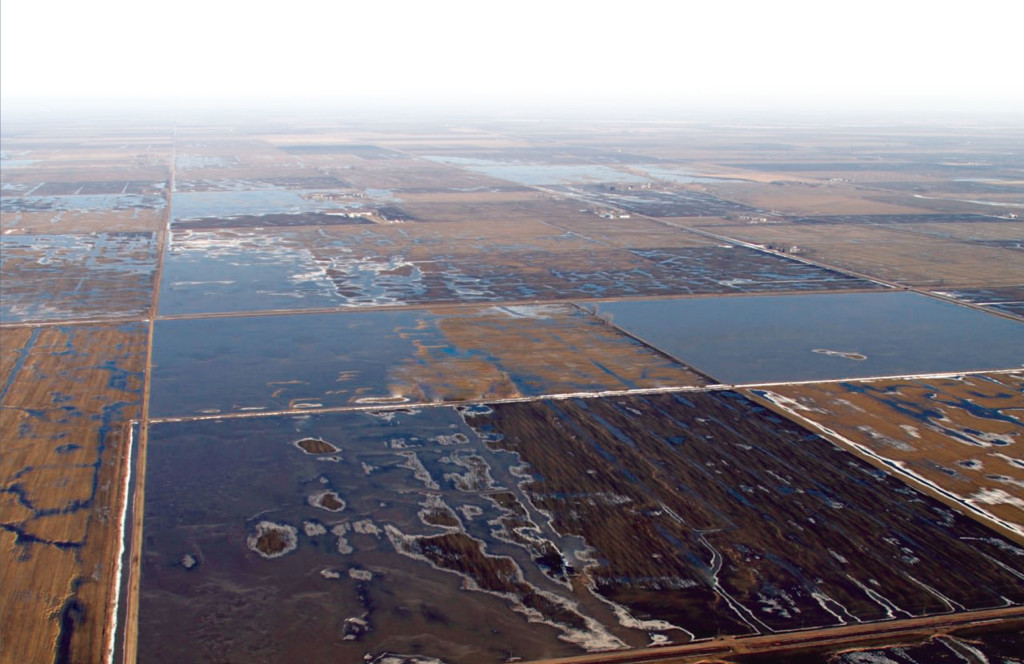40,200 sq/miles of Waffle Storage available upstream of the Pembina river gage.