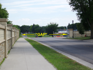 GAP in Fargo Flood Protection (near El Zagal, Elm Street)
